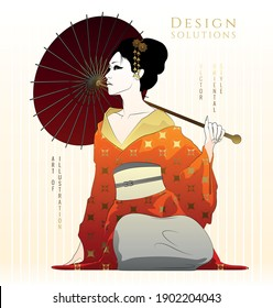 Young, oriental style girl. Vector illustration with golden gradients.