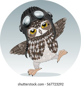Young owl, cute eagle-owl chick playing a pilot, preparing for the first flight, wearing a helmet, headphones & aviator goggles, balancing, with forest reflection in sunglasses, round green gray badge