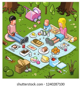 Young parents with baby enjoying a picnic on a blanket in nature setting (isometric vector)