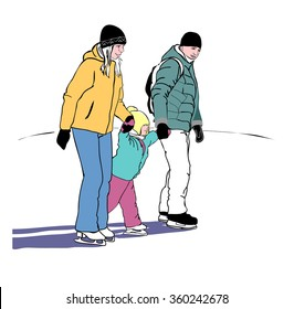 Young parents with a child in the winter on the skating.
