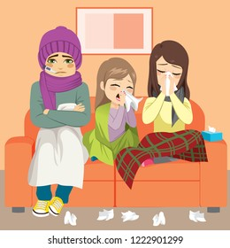 Young parents and daughter having flu wiping noses sitting on couch family together