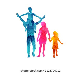 Young parents spending the day out relaxing and walking with their children. Vector illustration.