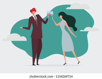 Young passionate couple drinking wine in cafe. Vector illustration of loving couple with wineglasses in romantic background