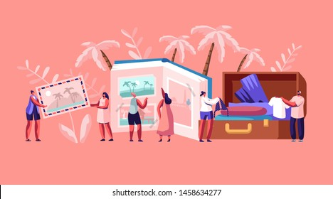 Young People After Vacation Concept, Tiny Characters Men and Women Watching Photo Album, Take Out Clothes and Souvenirs from Suitcase. Memory, Photography, Trip. Cartoon Flat Vector Illustration