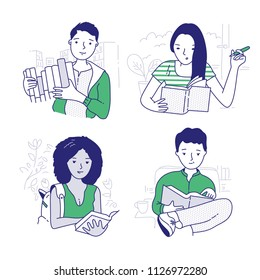 Young people book lovers reading books. Education and self development concepts. Hand drawn vector doodle illustrations