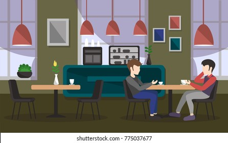 Young people in a cafe are drinking coffee. Vector illustration.