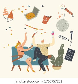 Young People Celebrate Home Party Sitting at Couch in Living Room Eating Pizza, Drinking Cola or Alcohol. Friends Company Leisure Weekend Spare Time, Celebration. Linear Characters Vector Illustration