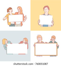young people character hanging a white board. hand drawn illustrations. vector doodle design