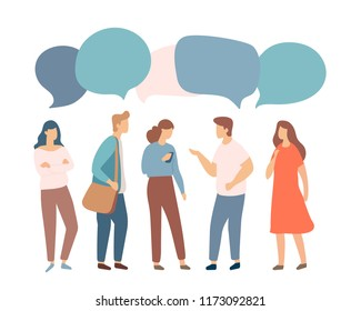 Young people characters with colorful dialog speech bubbles. Discussing, chatting, conversation, dialogue. Flat vector illustration isolaed on white.