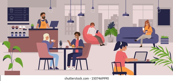 Young People Characters Dinning and Working in modern Coffeehouse. Woman and Man Talking and Drinking Coffee. Coworking Loft Office with Cafe. Flat Cartoon Vector Illustration.