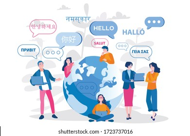 Young people chatting in foreign languages. Vector illustration for web banner, infographics, mobile. Male and female cartoon characters speaking different languages.