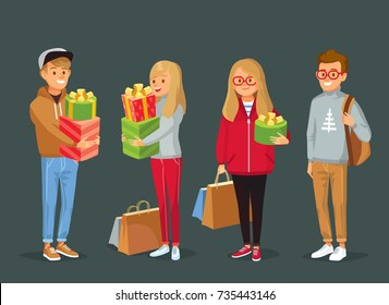 Young people with Christmas gifts and shopping bags