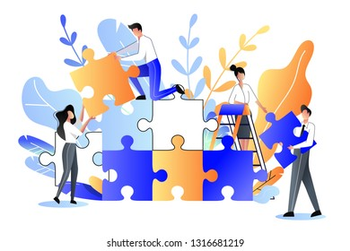 Young people collect multicolor puzzle. Vector flat illustration. Development, teamwork and partnership business metaphor.