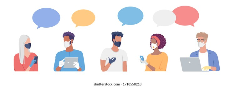Young people communication on internet during quarantine time. Social distance