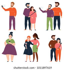 Young people and couples are taking selfie for instagram or social media, using selfie stick or holding camera in hand. Man and woman, two girls, guys, single oversized lady. Vector illustration