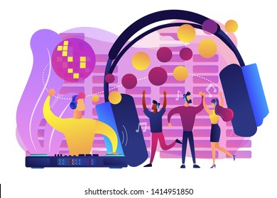 Young people dancing in night club, listening to music, DJ concert. Silent disco, headphones party, quiet rave party, silent disco equipment concept. Bright vibrant violet vector isolated illustration
