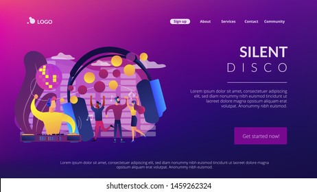 Young people dancing in night club, listening to music, DJ concert. Silent disco, headphones party, quiet rave party, silent disco equipment concept. Website homepage landing web page template.