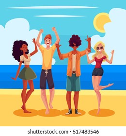 Young people dancing on the beach, cartoon style vector illustration. Young men and women, teenagers, boys and girls dancing at a seaside party in beach clothes on a wonderful sunny day