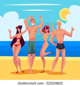 Young people dancing on the beach in swimming suits and shorts, cartoon style vector illustrations isolated on white background. Young men and women, boys and girls dancing at a beach party