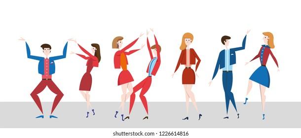 Young people dancing on the dancefloor. Disco night party. Fflat vector ilustration, horizontal.