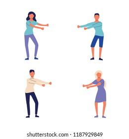 Young people dancing popular floss dance. Stock vector illustration of human figures in a dancing pose swinging arms. Flat style