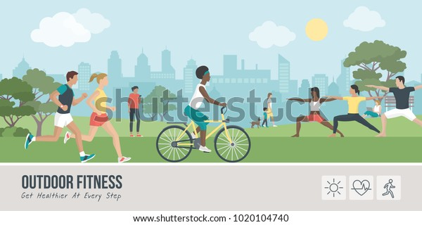 Young people doing physical activity outdoors at the park, they are running, cycling and practicing yoga; healthy lifestyle and fitness concept