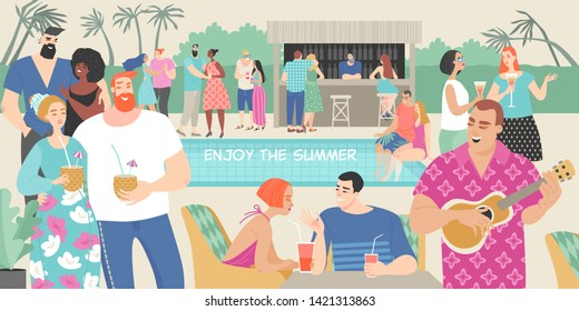 Young people drink cocktails and dance at a fun summer party by the pool. Cartoon characters for summer design