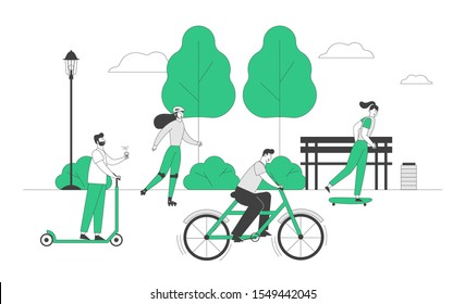 Young People Driving Different Ecological Transport as Scooter Bike Skateboard and Rollers Spend Active Leisure in Park. Eco Transportation in Human Life. Flat Vector Illustration, Line Art