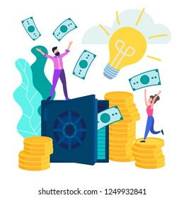 Young people employees happy monetary gain and the accumulation, a good contribution. Safe with banknotes and stacks of coins. Vector illustration
