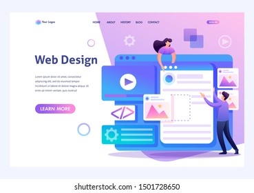 Young people are engaged in web design, website page development. Flat 2D character. Landing page concepts and web design