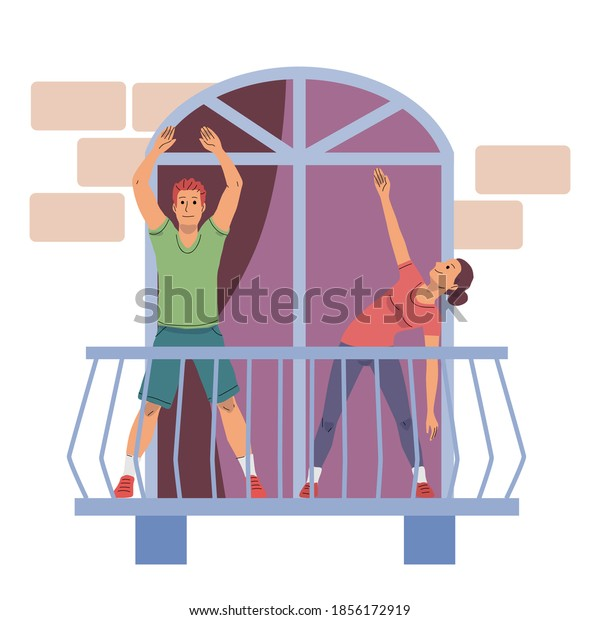 Young people exercising at home on balcony. Happy woman and man stretching in house. Relaxing sport activity outdoor vector illustration. City modern apartment view from street.