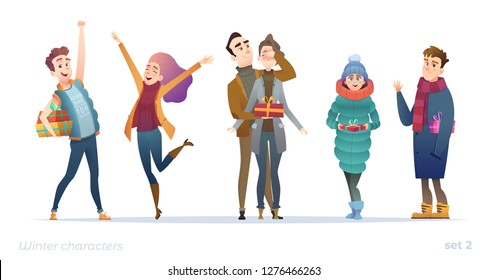 Young people with gifts. Holiday character design in modern flat cartoon style.