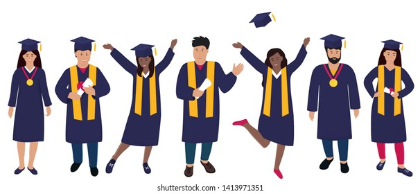 Young people graduate in graduation gown and hats with tassels. Trendy Flat people