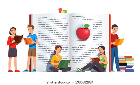Young people group reading books next to big open paper hardback book. Teens reading standing and sitting together. Study, learning knowledge and education concept. Flat vector character illustration