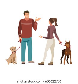 Young people ( guy and girl) talking while walking their dogs.  Vector illustration of people with pets isolated on white  background.