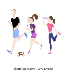 Young people, a guy and a girl, train outdoors, morning jogging, jogging by the park, marathon, active healthy lifestyle, cartoon characters, color illustration in vector
