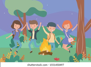 young people happy campfire nature landscape vector illustration