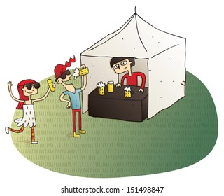 Young people having fun drinking beer vignette illustration. Illustration is hand drawn, elements are isolated and is in eps10 vector mode.