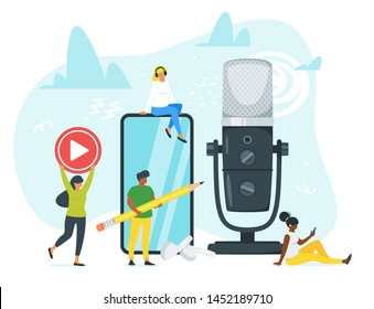 Young people in headphones listening to music flat vector illustration. Students, man and woman working together for creating podcast cartoon characters. Online training, radio, digital audio