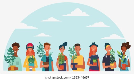 Young people holding different plants.  Eco friendly ecology concept. Nature conservation vector illustration