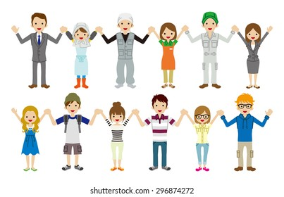 cartoon people holding hands images stock photos vectors rh shutterstock com People Holding Hands with World People Holding Hands in Unity