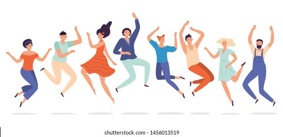 Young people jump. Jumping teenagers group, happy teen laughing students and smiling excited people. Freedom human team, student characters group success happiness jumped flat vector illustration