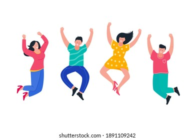 Young people jumping and having fun. Flat positive people lifestyle design for party, sport, dance, happiness, success.