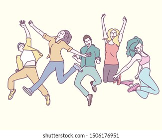 Young people are jumping vigorously. hand drawn style vector design illustrations.