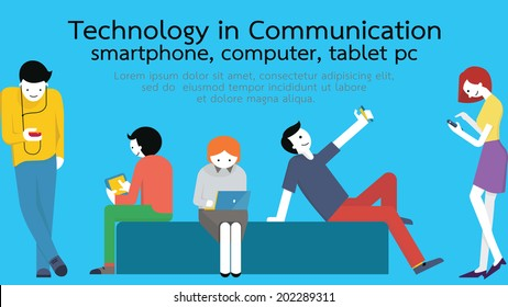 Young people, man and woman, using technology gadget, smartphone, mobile phone, tablet pc, laptop computer in communication concept. Flat design with copyspace.
