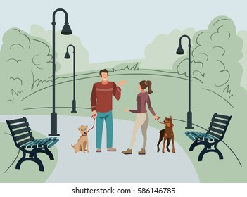 Young people (man and woman) walk in the park with their dogs in the morning. Vector illustration of people with pets in the street.