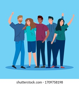 young people meeting avatar characters vector illustration design