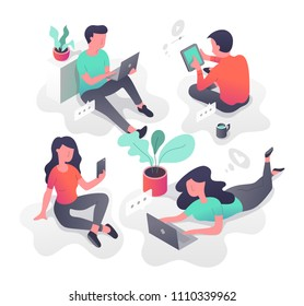 Young people with modern gadgets communicating via internet, networking, chatting, sharing information, sending messages, searching friends. Isometric illustration