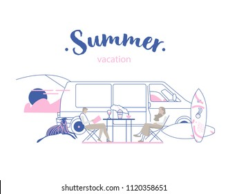Young people on road trip on a summer's day. Hipster friends sitting camper van with a dog and surfboards. Vector flat concept illustration on the theme of summer vacation on beach featuring retro bus