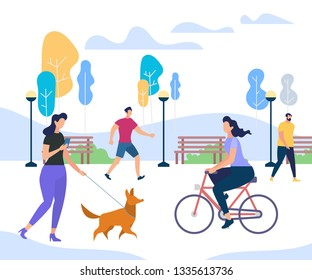 Young People Performing Summer Sports and Leisure Outdoor Activities in City Park. Girl Riding Bicycle, Woman Walking with Funny Dog, Men Passing By Trees. Colorful Cartoon Flat Vector Illustration.